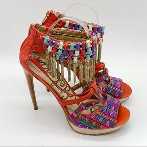 SAM EDELMAN fringe embroidered platform heels, 9.